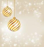 Golden spiral christmas balls Stock Images