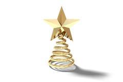 Golden spiral christmas tree ornament Stock Photo