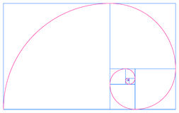 Golden spiral and Fibonacci sequence. An illustration of the Golden spiral, a logarithmic spiral with a growth factor that is the golden ratio Stock Image