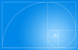 Golden spiral. The golden spiral and surface composed from Fibonacci tiles Royalty Free Stock Photo