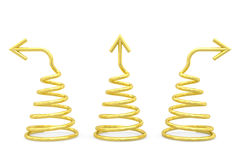 Golden spirals with different direction arrows on white Stock Image