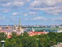 Golden Spire of the Admiralty building. Aerial view of St.Petersburg, Russia. The Golden Spire of the Admiralty building. Aerial view of Saint Petersburg from royalty free stock photo