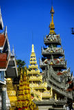 Golden spires of Buddhist stupas Royalty Free Stock Image