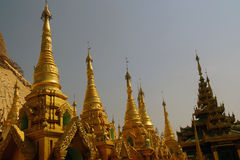 Golden spires of stupas Royalty Free Stock Images