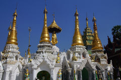 Golden spires of stupas Royalty Free Stock Photo