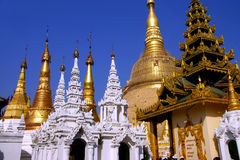 Golden spires of stupas Stock Image