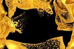 Golden splash on black background. 3d gold paint stock illustration. 3d rendering metal splashes. Copy space vector illustration