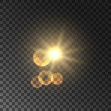 Golden spot light with lens flare effect. Golden sun light with lens flare effect. Glowing magic light flash. Glittering star bokeh. Sunshine on transparent Royalty Free Stock Photo