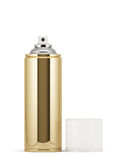 Golden spray paint can. 3d render of blank golden spray paint can with cap Stock Photography
