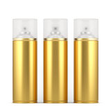 Golden spray paint cans with cap. 3d render of blank golden spray paint cans with cap. Isolated on white background Royalty Free Stock Image