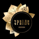 Golden spring design. Vector illustration. Big spring sale. Stock Photo