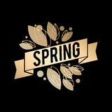 Golden spring design. Vector illustration. Big spring sale. Royalty Free Stock Images