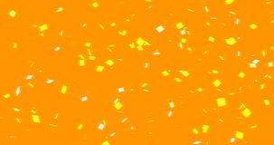 Golden square decay. And then floating on the air over an orange background,4K abstract video stock illustration