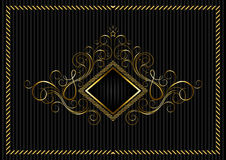 Golden square frame with calligraphic design and star Stock Photography