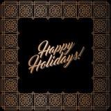 Golden square frame, Happy Holidays card. Abstract geometric square frame for Happy Holidays greeting card. Vector illustration, design elements. Gold frame Stock Image