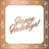 Golden square frame, Happy Holidays card. Abstract geometric square frame for Happy Holidays greeting card. Vector illustration, design elements. Gold frame Royalty Free Stock Photos