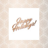 Golden square frame, Happy Holidays card. Abstract geometric square frame for Happy Holidays greeting card. Vector illustration, design elements. Gold frame Royalty Free Stock Photography
