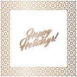 Golden square frame, Happy Holidays card. Abstract geometric square frame for Happy Holidays greeting card. Vector illustration, design elements. Gold frame Stock Photos