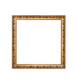 Golden square frame isolated on a white background Royalty Free Stock Photography