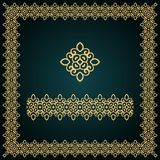 Golden square frame with logo and seamless border. Royalty Free Stock Images