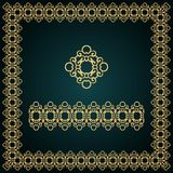 Golden square frame with logo and seamless border. Stock Photography