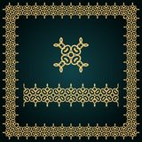 Golden square frame with logo and seamless border. Royalty Free Stock Image