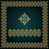 Golden square frame with logo and seamless border. Stock Images