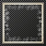 Golden square frame on the transparency background, border with glitter, stellar flare, shining reflections. royalty free illustration