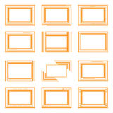 Golden square frames. Different golden square  picture frames Royalty Free Stock Photo