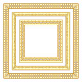3 golden square frames. 3 golden square shaped frames Royalty Free Stock Photos