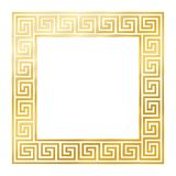 Golden Square With Seamless Meander Design stock photo