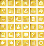 Golden squared icons Stock Photo