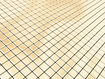 Golden squares. Cyberspace generated by gold square tiles Royalty Free Stock Photography