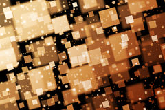 Golden squares. Abstract  background with bokeh effect Stock Images