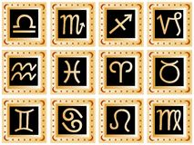 Golden squares with black signs. Decorative golden squares with black signs of the zodiac. Available as Illustrator-file Stock Photo