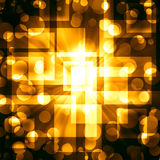 Golden  squares with bright circles on a dark Stock Images
