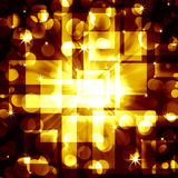 Golden  squares with bright circles on a dark Royalty Free Stock Image