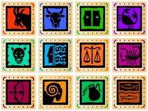 Golden squares with colored signs. Decorative golden squares with colored signs of the zodiac. Available as EPS-file Royalty Free Stock Image