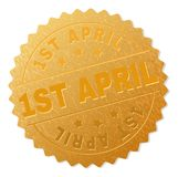 Golden 1ST APRIL Medal Stamp. 1ST APRIL gold stamp seal. Vector golden medal of 1ST APRIL text. Text labels are placed between parallel lines and on circle royalty free illustration