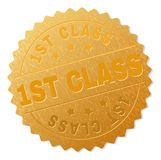 Golden 1ST CLASS Medal Stamp. 1ST CLASS gold stamp seal. Vector golden medal of 1ST CLASS tag. Text labels are placed between parallel lines and on circle royalty free illustration