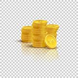Golden stack of coins with mirror reflection isolated on transparent background. Vector illustration. Golden stack of coins with mirror reflection isolated on Royalty Free Stock Image