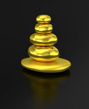 Zen stacked golden stones Royalty Free Stock Image