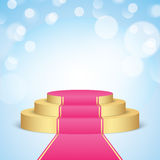 Golden stage with pink carpet. Stock Image