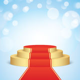 Golden stage with red carpet. Stock Image