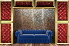 Golden stage with sofa Royalty Free Stock Image