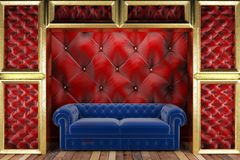 Golden stage with sofa Royalty Free Stock Photography