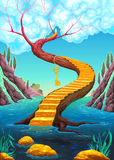 The golden stair with key. Vector cartoon illustration Royalty Free Stock Images