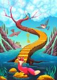 The golden stair. Vector cartoon illustration stock illustration