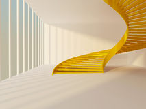 Golden staircase. Golden spiral staircase in white modern interior Royalty Free Stock Photos