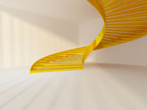 Golden staircase. Golden spiral staircase in white interior Stock Photo